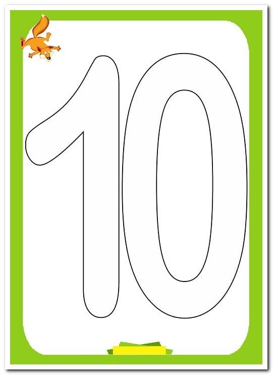 10 On Sayısı Rakamı Boyama Sayfaları Yucex