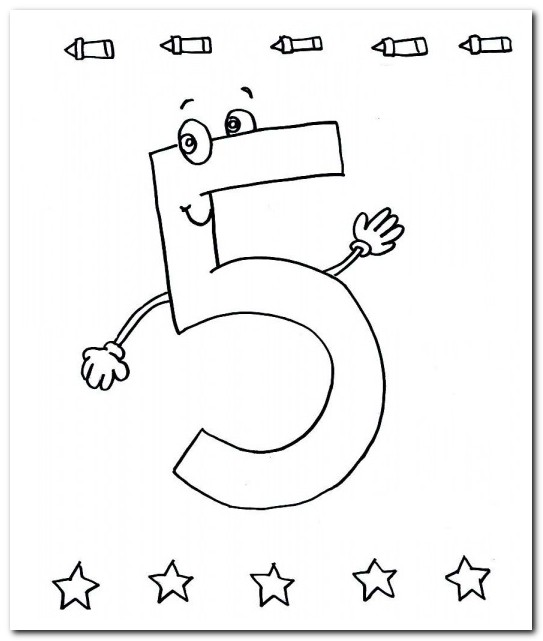 5 Beş Sayısı Rakamı Boyama Sayfaları Yucex
