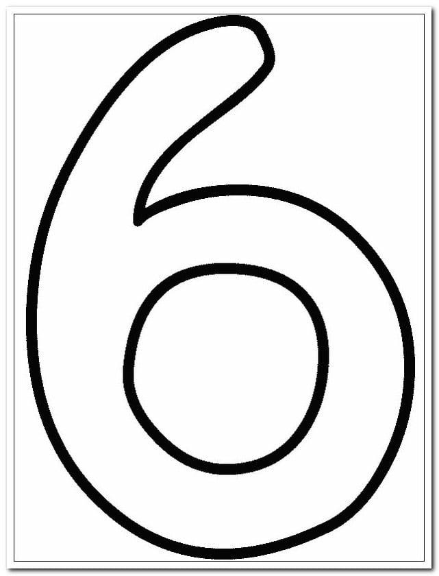 6 Altı Sayısı Rakamı Boyama Sayfaları Yucex