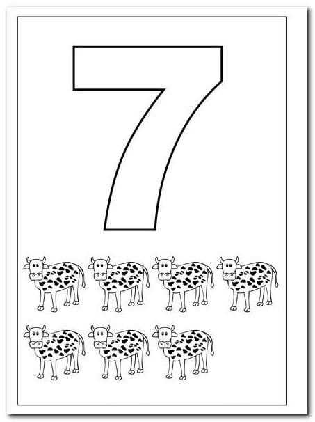7 Yedi Sayısı Rakamı Boyama Sayfaları Yucex