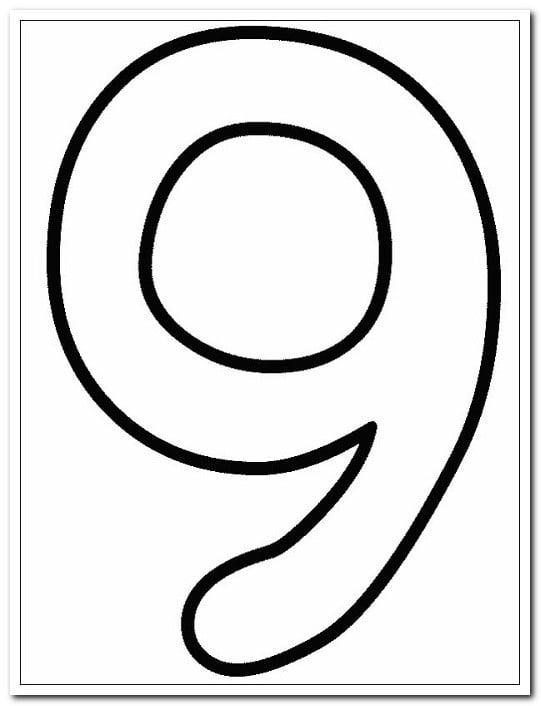 9 Dokuz Sayısı Rakamı Boyama Sayfaları Yucex